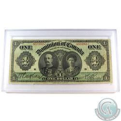 1911 $1 DC-18a Dominion of Canada Boville Banknote in hard protective holder (holes, tears & writing