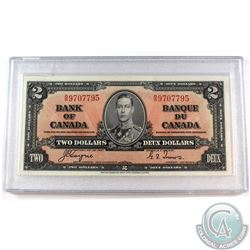 1937 $2 BC-22c Bank of Canada, Coyne-Towers, BR 9707795 Note in hard protective holder. AU