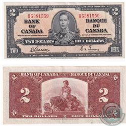 1937 $2 BC-22b Bank of Canada, Gordon-Towers, RB 5381559 Note