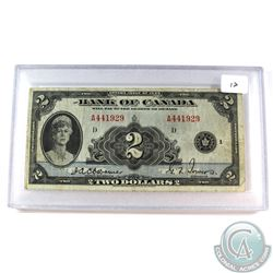 1935 $2 BC-3 Bank of Canada, Osborne-Towers, A4419929 Note in hard protective holder. VF