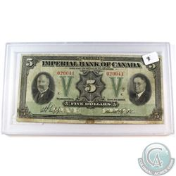 1933 $5 375-20-02 Imperial Bank of Canada Note in Protective holder(stains) Fine