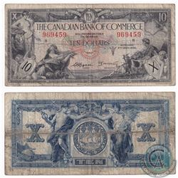 1935 $10 Canadian Imperial Bank of Commerce, Logan-Arscott Note (holes) VG