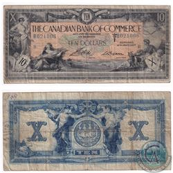 1917 $10 75-16-04-12a Canadian Bank of commerce, SM-Logan Note (writing) VG-Fine