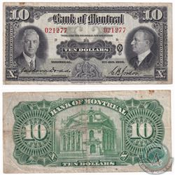 1935 $10 60-04 Bank of Montreal Note (minor tears, stains) F-VF