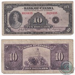 1935 $10 BC-7 Bank of Canada, Osborne-Towers, English text, A026635 Note VG