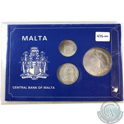 1977 Republic of Malta 3-coin Sterling Silver Central Bank Coin Set (toned)