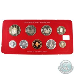 1978 Republic of Malta 9-coin Proof Set Minted by the Franklin Mint (some coins are toned)