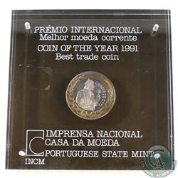 1991 Portuguese State Mint Coin of the Year Best Trade Coin Garcia De Orta 200 Escudo Coin (lightly