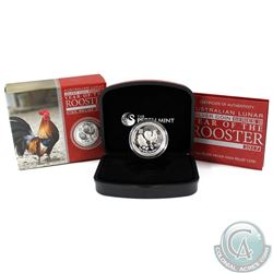 2017 Australia $1 Year of the Rooster High Relief 1oz Silver (Tax Exempt).