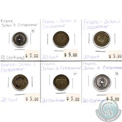 Lot of 6x France Jetton a Consommer 10 Centimes & 20 Centimes. 6pcs
