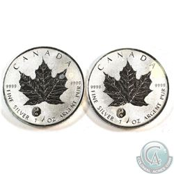 2x 2016 Yin and Yang Privy Mark 1oz Silver Maple Leaf coins (toned/spot)- Tax Exempt. 2pcs