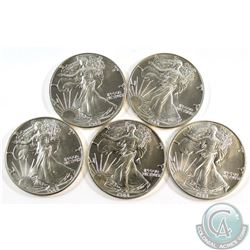 5x 1988 United States 1oz Silver Eagles (Tax Exempt)-toned. 5pcs