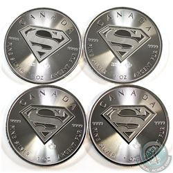 4x 2016 Canada Superman's Shield 1 oz. $5 Silver Maple Leaf in square Capsule (Tax Exempt). 4pcs