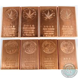 8x .999 Fine Copper Half Pound Bars 'Legalize it' and 'Psychedelic Funk' Designs (Tax Exempt). 8pcs
