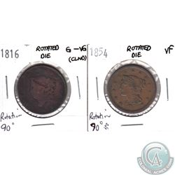 1816 G-VG (cleaned) & 1854 VF USA 1-cent with 90 Degree Rotated Dies. 2pcs