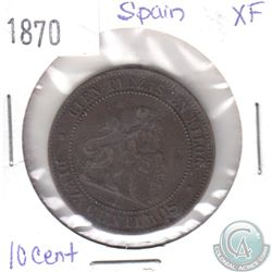 1870 Spain 10 Centimos in Extra Fine Condition