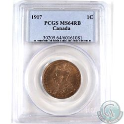 1917 Canada 1-cent PCGS Certified MS-64 Red/Brown