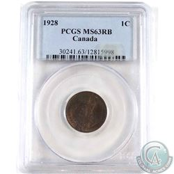 1928 Canada 1-cent PCGS Certified MS-63 Red/Brown