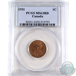 1931 Canada 1-cent PCGS Certified MS-63 Red