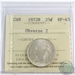 1872-H Canada 25-cent Obv. 2 ICCS Certified EF-45. Plenty of Mint Luster throughout the borders.