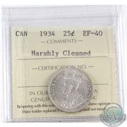 1934 Canada 25-cent ICCS Certified EF-40 (Cleaned)