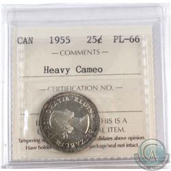 1955 Canada 25-cent ICCS Certified PL-66 Heavy Cameo