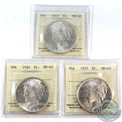 3x 1923-1925 USA Silver Dollar ICCS Certified: 1923 MS-60, 1924 MS-62 & 1925 MS-62. 3pcs