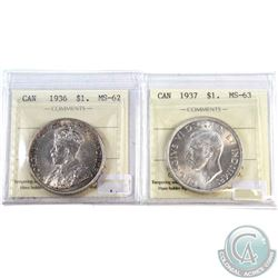 1936 Canada Silver Dollar ICCS Certified MS-62 & 1937 Canada Silver Dollar ICCS Certified MS-63. 2pc