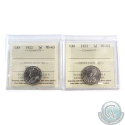 1922 & 1923 Canada 5-cent ICCS Certified MS-63. 2pcs