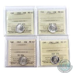10-cent 1940, 1941, 1943 & 1947 ICCS Certified MS-63. 4pcs