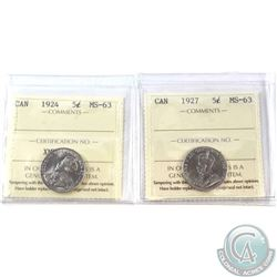 1924 & 1927 Canada 5-cent ICCS Certified MS-63. 2pcs