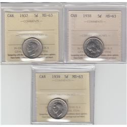 5-cent 1937, 1938, & 1939 ICCS Certified MS-63. 3pcs