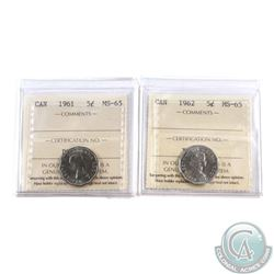 5-cent 1961 & 1962 ICCS Certified MS-65. 2pcs