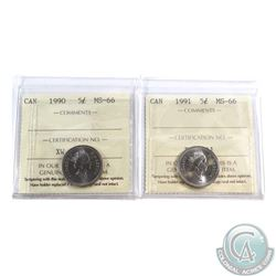 5-cent 1990 & 1991 ICCS Certified MS-66. 2pcs