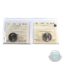 5-cent 1996 Far 6 MS-65 & 1998 ICCS Certified MS-66. 2pcs
