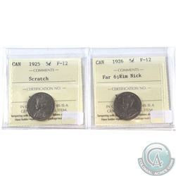 1925 (scratch) & 1926 Far 6 (Rim Nick) Canada 5-cent ICCS Certified F-12. 2pcs