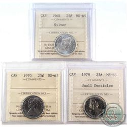 1968 Silver, 1970 & 1978 Small Denticle 25-cent ICCS Certified MS-65
