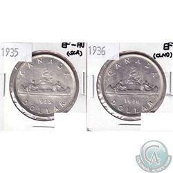 1935 Silver Dollar EF-AU (scratched) & 1936 Silver Dollar EF (Cleaned). 2pcs