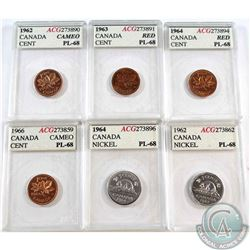 6x 1962-1966 Canada 1-cent & 5-cent coins ACGC Certified PL-68. Dates include 1962 1-cent, 1962 5-ce