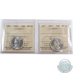 1960 & 1962 Canada 25-cent ICCS Certified MS-65. 2pcs