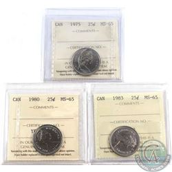 1975, 1980 & 1983 Canada 25-cent ICCS Certified MS-65. 3pcs