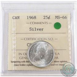 1968 Silver 25-cent ICCS Certified MS-66