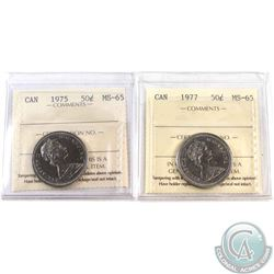 1975 & 1977 Canada 50-cent ICCS Certified MS-65. 2pcs