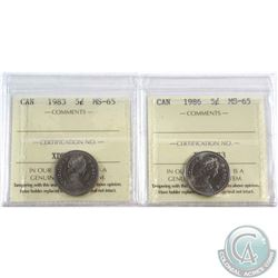 1983 & 1986 Canada 5-cent ICCS Certified MS-65