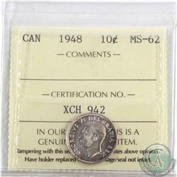 1948 Canada 10-cent ICCS Certified MS-62