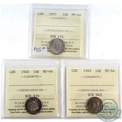 1937, 1940 & 1949 Canada 10-cent ICCS Certified MS-64. 3pcs