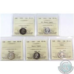 1950, 1953 SF; Heavy Cameo, 1963, 1963 Heavy Cameo & 1964 Cameo 10-cents ICCS Certified MS-64. 5pcs