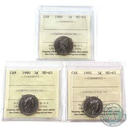 1989, 1990 & 1992 Canada 5-cent ICCS Certified MS-65. 3pcs