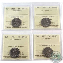 1929, 1930, 1931 & 1936 Canada 5-cent ICCS Certified EF-45. 4pcs