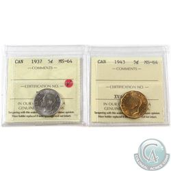 1937 & 1943 Canada 5-cent ICCS Certified MS-64. 2pcs